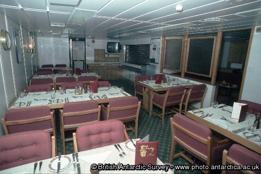 The canteen or restaurant onboard  RRS James Clark Ross