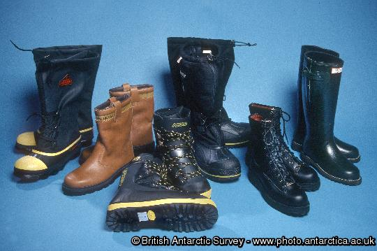 Antarctic Clothing Pictures Footwear, L-R , RBLT, Rigger boot, Plastic Field Boot, Mukluk, Leather Field Boot, Wellington Boot.