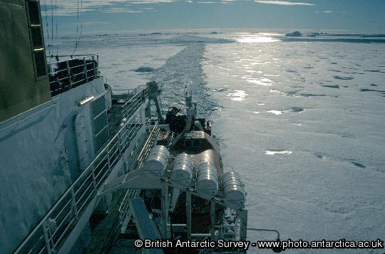 RRS James Clark Ross JCR track through sea ice en route to Rothera Research Station. This image is associated with the 2005-2010 BAS science programme: ACES - Antarctic Climate and the Earth System.
