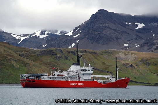Pharos Fishery Patrol Vessel at King Edward Point, South Georgia.