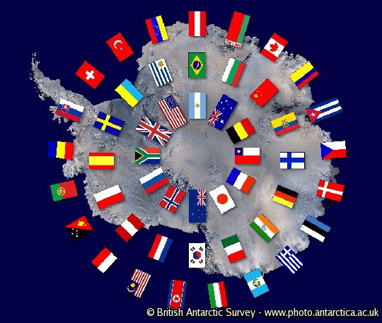 Map of Antarctica with the flags of the Antarctic Treay nations. Accurate for Feb 2012 (49 nations). Inner ring are the original 12 signatory nations, central ring are the remaining consultative nations and outer ring are the non-consultative nations.