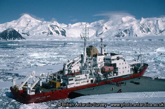 Unloading cargo from the James Clark Ross at Rothera wharf.