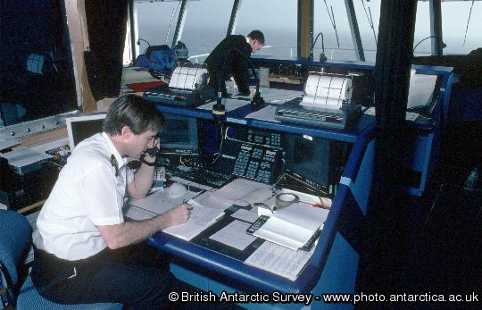 Radio officer on the bridge of the RRS Ernest Shackleton