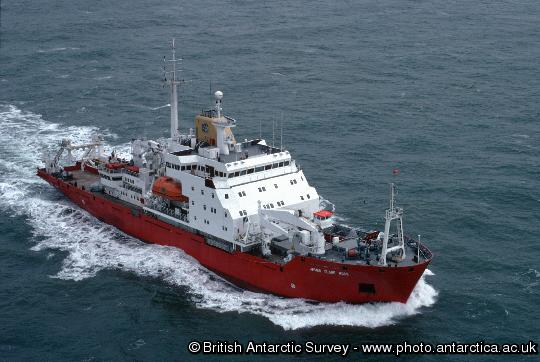 Aerial view of the James Clark Ross prior to it's first voyage to Antarctica
