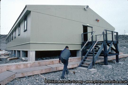 Exterior of the summer accommodation building at Rothera