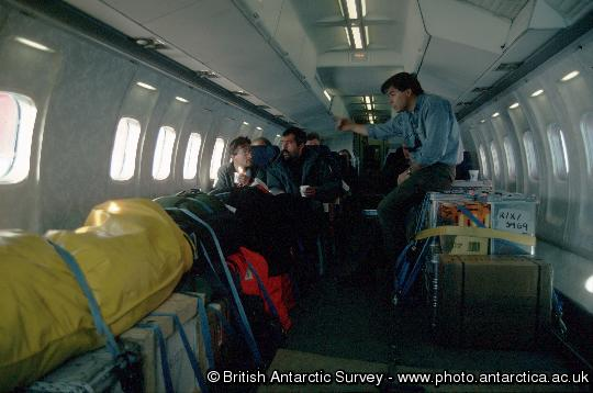 The BAS Dash 7 during a flight from the Falkland Islands to Rothera Research Station on Adelaide Island, Antarctica, the Antarctic airbridge.