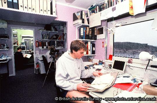 Bird Assistant Daf' Roberts logs the days albatross nest round data in the main office room  at Bird Island