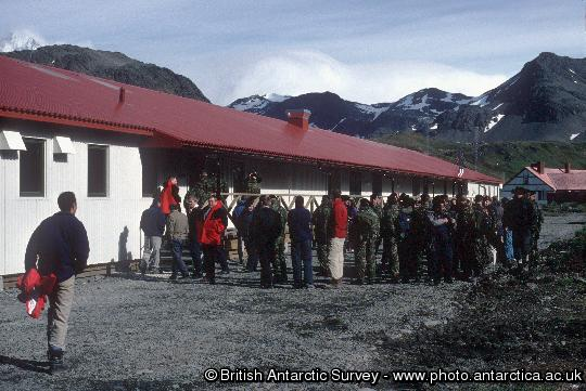 Opening ceremony at  the applied fisheries research station at King Edward Point. The purpose built facilities include the accommodation building, Everson House and the James Cook Laboratory. Research is carried out to assist in the sustainable management of the commercial fisheries around South Georgia.