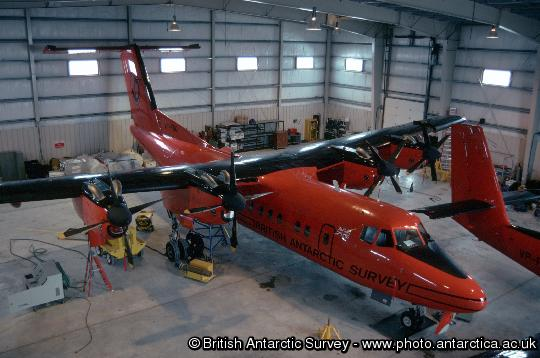 The Dash 7 in the Hangar at Rothera Research Station, Antarctica