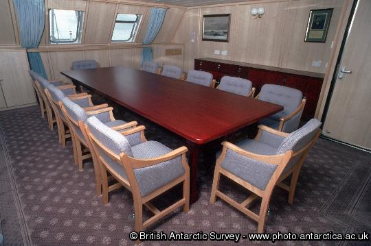 The conference table in the Library onboard  RRS James Clark Ross