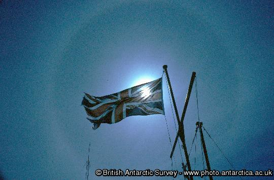 Sun Halo around the Union Jack at Halley Research Station