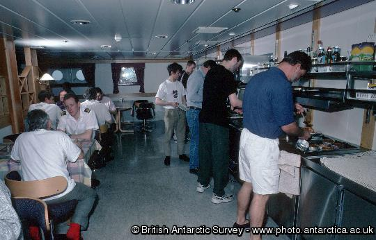 The self service dining area for Officers, crew and other BAS personnel on the RRS Ernest Shackleton