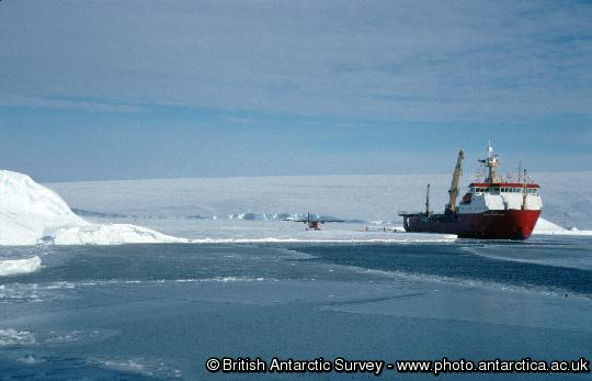 RRS Ernest Shackleton and Twin-Otter Aircraft working with HMS Endurance,  fuel depot at Bedlam 2, Weddell Sea