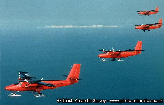 The BAS fleet of four Twin Otter aircraft flying in formation on their journey from England to the Antarctic Peninsula