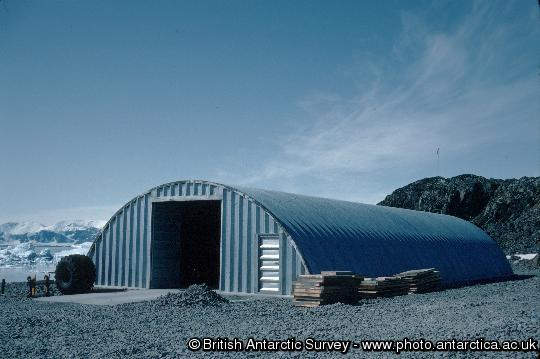 The vehicle store at Rothera, known as the miracle span