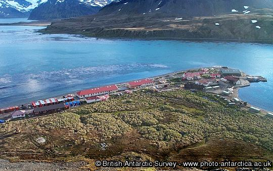 Aerial view of the buildings at King Edward Point, South Georgia. The purpose built facilities include the accommodation building, Everson House and the James Cook Laboratory. Research is carried out to assist in the sustainable management of the commercial fisheries around South Georgia.