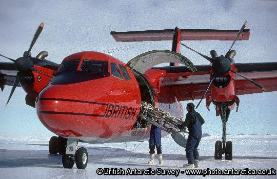 The BAS Dash 7 on the Sky-Blu blue ice runway after the first ever blue ice deployment of the aircraft. The wheeled Dash 7 aircraft routinely operates between Rothera and a blue ice runway at Sky-Blu where a fuel depot is maintained for use by the fleet of Twin Otter aircraft.
