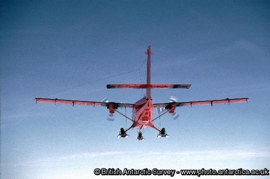 A BAS Twin Otter aircraft over Alexander Island