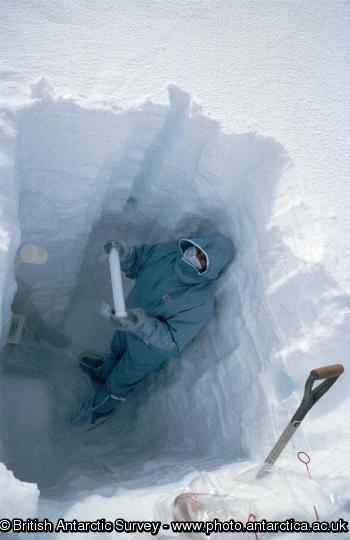 Taking snow core samples