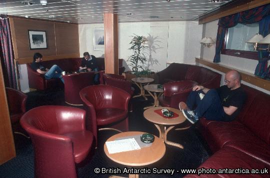 The lounge onboard RRS Shackleton