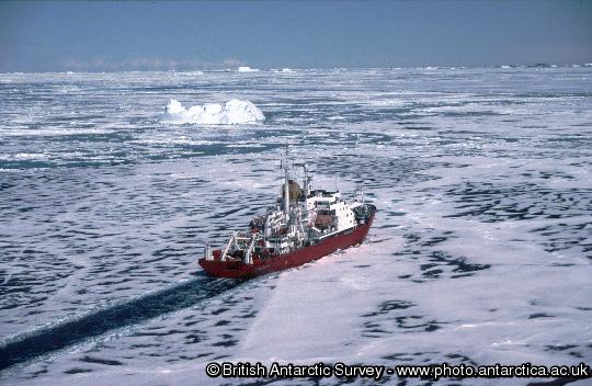 RRS James Clark Ross in Marguerite Bay shortly after leaving Rothera Research Station