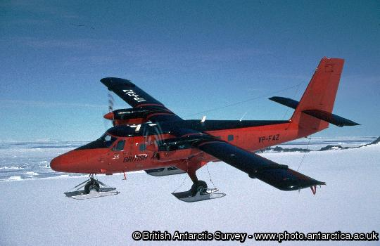 BAS Twin Otter Aircraft in flight over the Antarctic Peninsula
