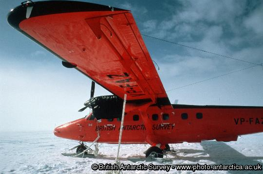 BAS Twin Otter tethered to the ice