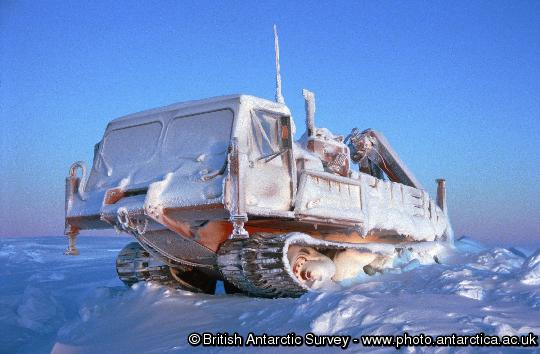 Nodwell 110c mobile crane encased in snow and Ice over the 1995 Halley Winter