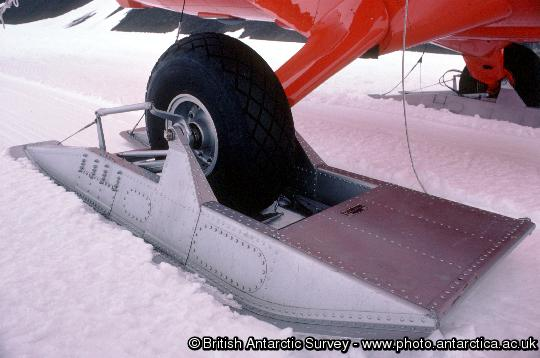 Twin otter skis used when landing on snow and ice
