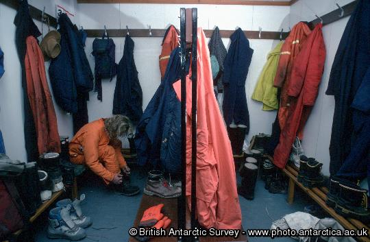 Changing rooms at Rothera where outside clothes and boots are left when entering the building.