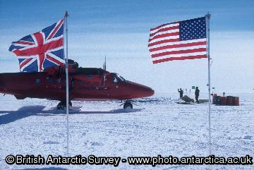 Flags at UK/US collaborative field party camp on Pine Island Glacier, West Antarctica. January 2005.