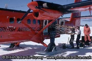 Loading sledge onto twin-otter