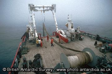 Deploying the pelagic trawl  on the James Clark Ross off South Georgia