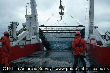 The RMT 25 is retrieved onto the deck of the James Clark Ross off South Georgia RMT25 - Rectangular Midwater Trawl  having a mouth area of 25 square metres. There are two nets that can be opened and closed underwater.