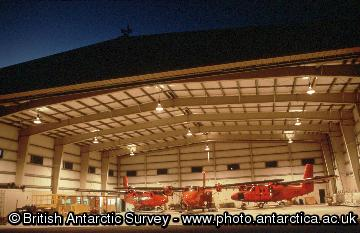 Aircraft inside the hangar at Rothera