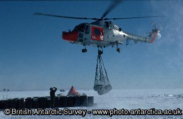 Lynx helicopters from HMS Endurance transferring fuel to a field depot.