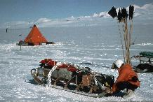 Preparing a sledge for a day trip from a field camp in the shadow of Ellsworth Mountains.