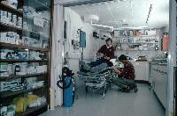 A medical excercise by doctors in the hospital at Rothera