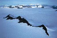 Mountains and ice sheet of the Antarctic Peninsula