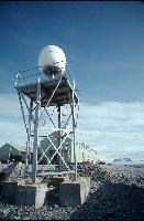 Satellite dish on communications tower at Rothera