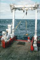 BGS deep-tow boomer being being deployed from the stern of RRS James Clark Ross (cruise JR01)